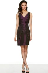 Pencil Short Ruched Sleeveless V-Neck Satin Bridesmaid Dress With Flower