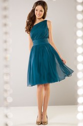 One-Shoulder Knee-Length Bridesmaid Dress With Beadings And Pleats