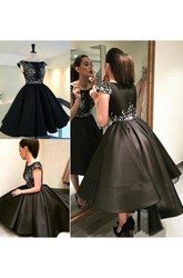 Ball Gown Tea-length High-low Short Sleeve Bateau Pleats Satin Homecoming Dress