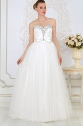 A-Line Sweetheart Sleeveless Maxi Beaded Tulle Wedding Dress With Bow And Ruching