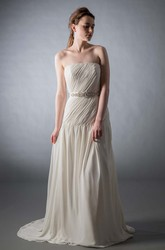 Maxi Strapless Bowed Ruched Chiffon Wedding Dress With Sweep Train