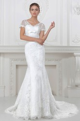 Trumpet V-Neck Short-Sleeve Appliqued Long Lace&Satin Wedding Dress With Waist Jewellery