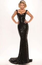 Sheath Split-Front Sweetheart Floor-Length Sleeveless Sequins Prom Dress With Backless Style And Pleats