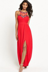 Ankle-Length Beaded Sleeveless Scoop Neck Chiffon Bridesmaid Dress