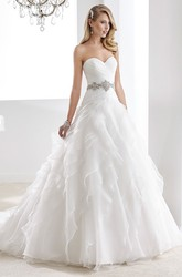 Sweetheart Pleated A-Line Bridal Gown With Cascading Ruffles And Beaded Belt