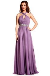 Sleeveless Halter Ruched Chiffon Prom Dress