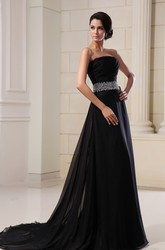 Strapless Sleeveless A Line Chiffon Formal Dress With Sequined Waist