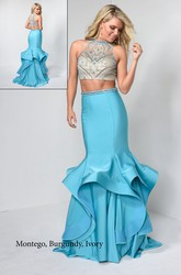 Muti-Color Sheath High Neck Sleeveless Satin Illusion Dress With Beading And Draping