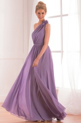 One-shoulder A-line Chiffon Dress with Pleats and Flowers