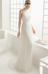 Sheath Halter Organ Plaited Dress With Special Back Design