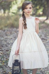 Tea-Length Sequined Tiered Tulle&Lace Flower Girl Dress