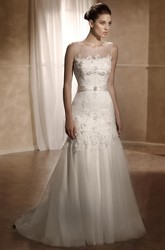 A-Line Long Bateau Sleeveless Appliqued Tulle&Satin Wedding Dress With Pleats And Deep-V Back