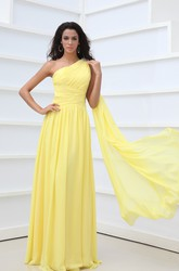 A-Line Empire One-Shoulder Vintage Chiffon Formal Gown With Pleats