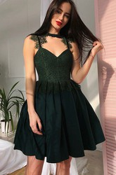 A-line Short Mini Sleeveless High Neck V-neck Lace Pleats Ruching Chiffon Lace Homecoming Dress