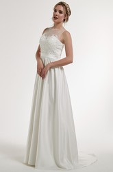 A-Line Appliqued Floor-Length Sleeveless Bateau Satin Wedding Dress With Illusion Back And Sweep Train