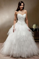 Ball-Gown Sleeveless Long Sweetheart Cascading-Ruffle Tulle Wedding Dress With Beading And Corset Back