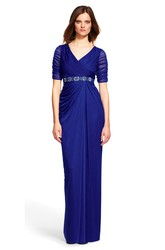 Sheath Short Sleeve V-Neck Beaded Chiffon Bridesmaid Dress