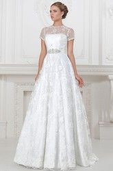 A-Line Floor-Length High-Neck Appliqued Short-Sleeve Lace&Satin Wedding Dress With Waist Jewellery