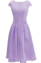 Cap-sleeved Knee-length Chiffon Dress With Ribbon