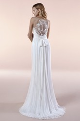 Deep V-neck Illusion Sleeveless Chiffon Gown With Sash And Pleats