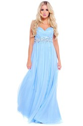 Sleeveless Jeweled Sweetheart Chiffon Prom Dress