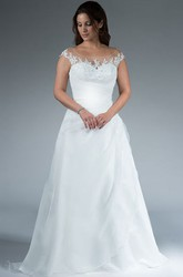 Jewel Neckline Cap Sleeve Side Drap Organza Gown With Appliques