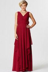 Maxi V-Neck Ruched Sleeveless Chiffon Bridesmaid Dress With Draping And Flower