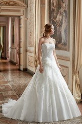 A-Line Strapless Floor-Length Appliqued Sleeveless Satin Wedding Dress With Ruffles And Flower