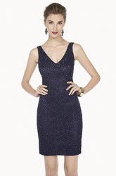 V Neck Sheath Short Prom Dress With Allover Beadings And Straps