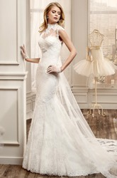 High-Neck Sheath Lace Wedding Dress With Beaded Bust And Court Train