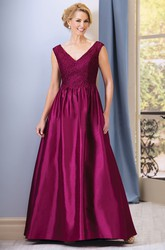 Cap-Sleeved V-Neck A-Line Taffeta Mother Of The Bride Dress With Lace And Beadings