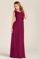 Cowl-Neck Sleeveless Draped Floor-Length Chiffon Bridesmaid Dress With Flower And Zipper