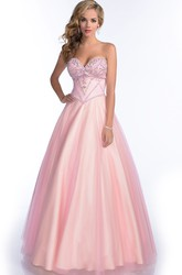 Sweetheart A-Line Tulle Gown With Rhinestone Bust And Lace-Up Back