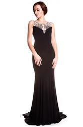 Sheath Sleeveless Floor-Length Scoop Beaded Chiffon Prom Dress With Illusion Back And Sweep Train
