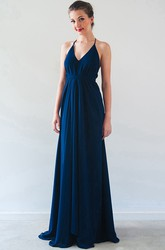 A-Line Halter Sleeveless Floor-Length Split-Front Chiffon Bridesmaid Dress With Straps And Pleats