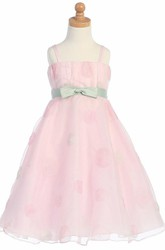 Ruffled Tea-Length Bowed Organza Flower Girl Dress With Embroidery