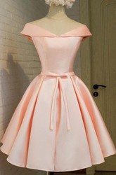 Ball Gown Tea-length Short Sleeve Off-the-shoulder V-neck Bow Pleats Satin Homecoming Dress