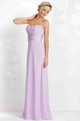 Criss-Cross Sleeveless Sweetheart Chiffon Bridesmaid Dress With Lace-Up