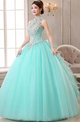 Sleeveless Ball Gown High Neck Floor-length Organza Tulle Prom Dress with Beading and Ruffles
