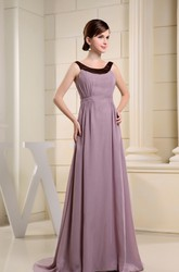 A-Line Sleeveless Chiffon Formal Dress with Ruching and Sweep Train