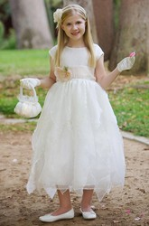 Tiered Cap-Sleeve Organza&Taffeta Flower Girl Dress
