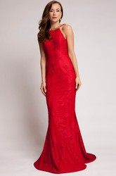 Sheath Floor-Length Beaded Sleeveless Scoop Lace Prom Dress With Backless Style And Appliques