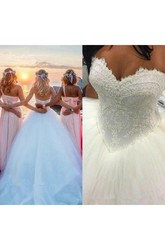 Ball Gown Sweetheart Lace Tulle Lace-up Corset Back Wedding Dress