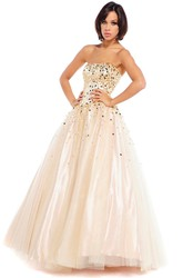 A-Line Strapless Floor-Length Sleeveless Beaded Satin Prom Dress With Lace-Up Back And Bow