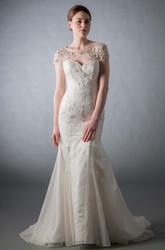 Mermaid Scoop-Neck Cap-Sleeve Beaded Tulle&Lace Wedding Dress With Keyhole