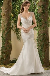 Cap-Sleeved Mermaid Wedding Dress With Beadings And Deep V-Back