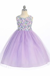Floral Tea-Length Floral Tulle&Sequins Flower Girl Dress With Sash