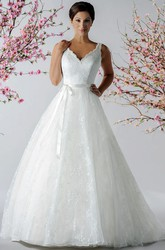 Scalloped V Neck A-Line Embroidered Tulle Bridal Gown With Sash