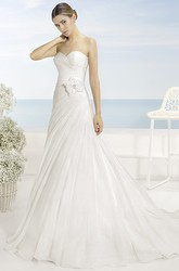 A-Line Floor-Length Sweetheart Organza Wedding Dress With Criss Cross And Cape