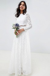 Ethereal Two Piece Sheath Jewel Neckline Long Sleeve Floor Length Bridal Gown